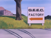 Sign to G.E.E.C. Factory (01x03 - Professor Goodfellow's G.E.E.C.)