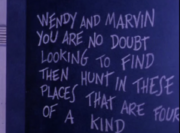 Poetry on Chalkboard (01x02 - The Baffles Puzzle)