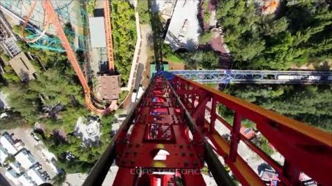 Lex Luthor Drop of Doom on-ride & off-ride b-roll footage Six Flags Magic Mountain