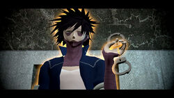 Dabi with handcuffs