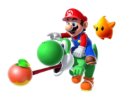 Mario Yoshi Sfavillotto Aiutante Artwork - Super Mario Galaxy 2