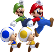 Mario, Luigi, Toad Giallo, Toad Blu Artwork - New Super Mario Bros. U