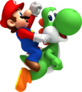Mario e Yoshi Artwork - New Super Mario Bros. Wii