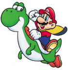 Yoshi e Mario Cappa Artwork - Super Mario World