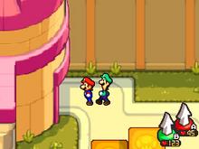 Giardino del Castello di Peach Screenshot - Mario & Luigi Viaggio al Centro di Bowser