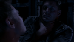 Dean being suffocated by Lucifer in the cage