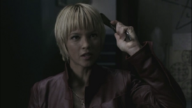 Meg holding Jim Murphy's Knife