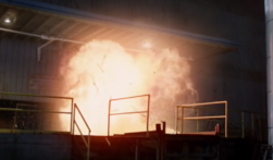 The warehouse going up in flames after Garth triggered the C4 he planted