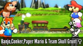 Banjo + Conker (Alpha),Paper Mario & Team Skull Grunt (Female) - Super Smash Bros. Wii U Mods