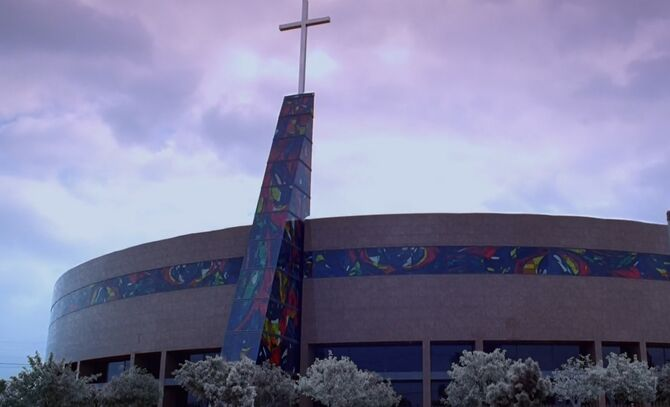 S03E08-Lifes Works Church outside