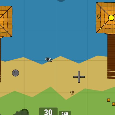 Hut with golden rooftop, versus non-golden. Golden rooftop has gold pot in it