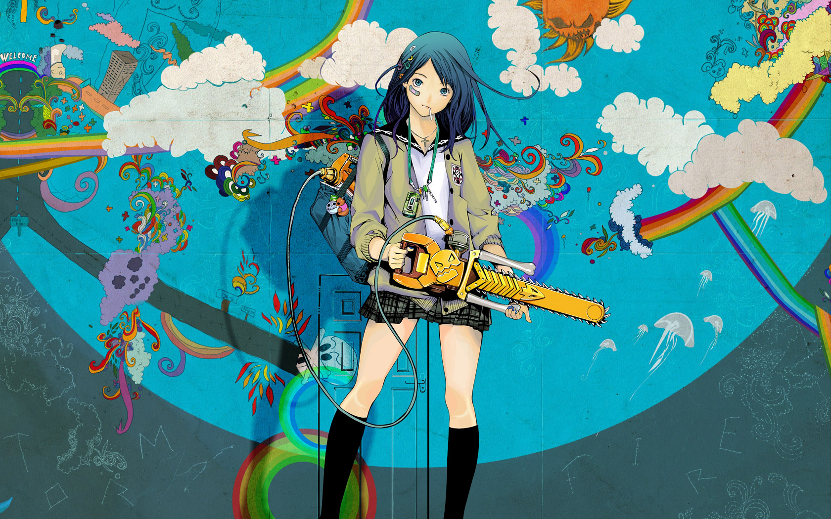 Paint Rainbow Girl Wallpapers: Girls Colorful Chainsaw Rainbows Girl Rainbow