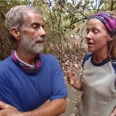 Paschal and Neleh reviewing what happened at the immunity.