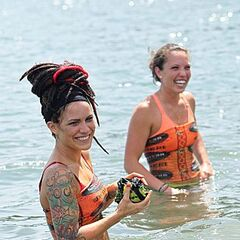 Lindsey and Sarah in the ocean