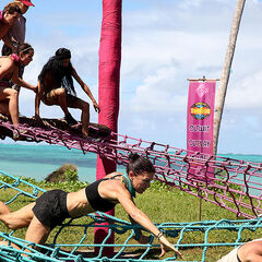 Samatau competes against Asaga in the <i>Upstacle</i> Immunity Challenge.
