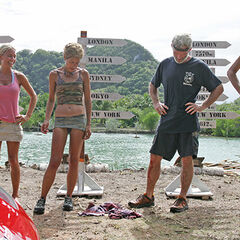 The castaways at the Reward Challenge, after <a href=