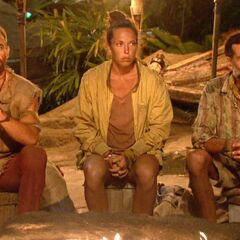 Brad, Sarah, and Troyzan at the Final Tribal Council.