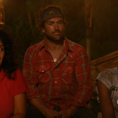 Sandra, J.T., and Michaela at Nuku's second Tribal Council.