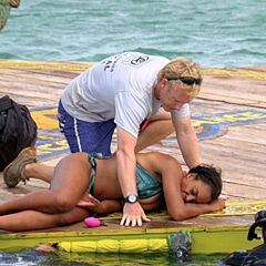 Tasha rescued after nearly drowning during the challenge.