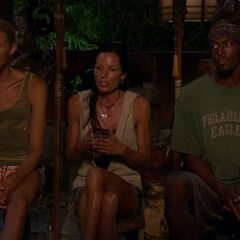 Gervase, Monica, and Tyson at Final Tribal Council.