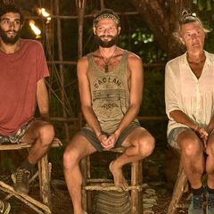 Avi, Barb, and Tom at the Final Tribal Council.