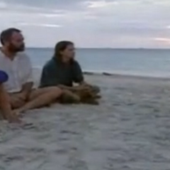 Jeff talking to the first Final 3 in <i>Borneo</i> about the Rites of Passage.