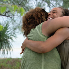 Tasha hugging her cousin, Christina.