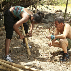 J'Tia and David trying to make fire for Luzon