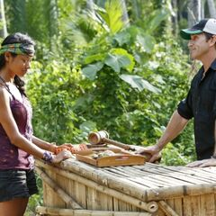 Brenda buying an item from the Survivor Auction.