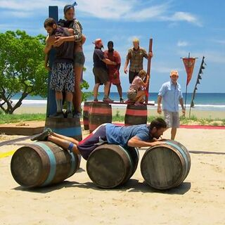 The blue team during the challenge in <i>Worlds Apart</i>.