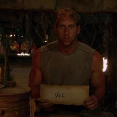 John votes against Val at the revote.