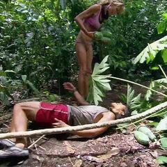 Woo falls off the papaya tree.