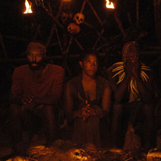 Cassandra and Earl at the Final Tribal Council with Dreamz.