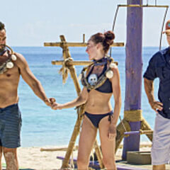 Domenick after winning individual immunity with Chelsea.