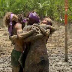 The purple team wins reward.