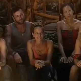 The Mogo Mogo Alliance and Amber at Tribal Council.