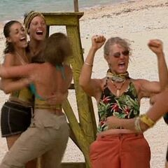 Yasur celebrates winning immunity.