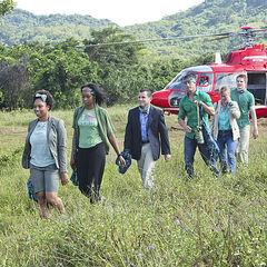 The Luzon tribe (Brains) arriving via chopper