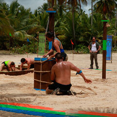 Banda competing in the second Advantage and Punishment Challenge.
