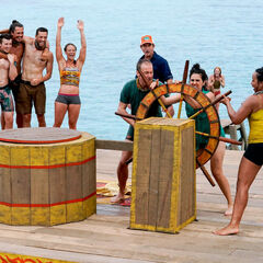 Kama competes in the Immunity Challenge, <i>Beyond the Wheel</i>.