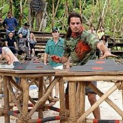 Ozzy competing in the first challenge of the season.