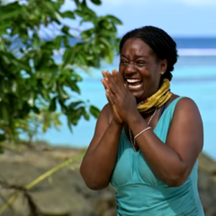 Cirie's reaction to seeing her son.