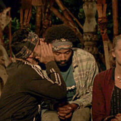 Domenick and Wendell whispering at Tribal Council.