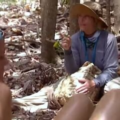 Kathy lecturing the tribe about how she should find food.