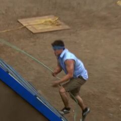 Jon competing at the first Immunity Challenge.