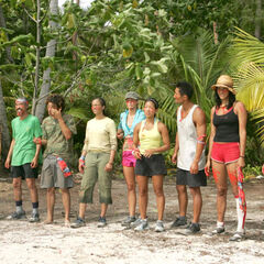 Cecilia with the new Aitutaki tribe after the <a href=