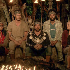 The orange team at Tribal Council.