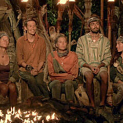 Angela's team at Tribal Council.
