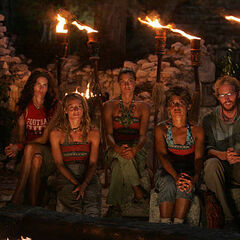 The final five at Tribal Council.