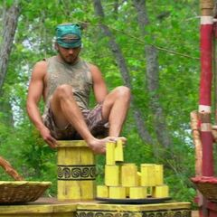 Wes competing in the final ten Immunity Challenge.